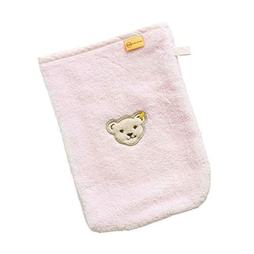 Steiff Baby Waschlappen Plüsch-Bär-Applikation 20316 (Rosa, 18cm x 24cm)