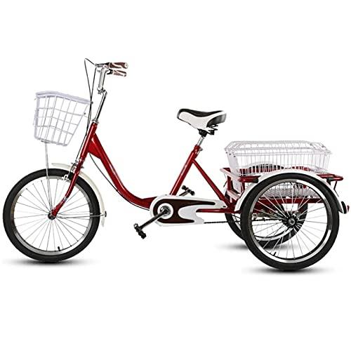 Bicicletas De Tres Ruedas De 20 Pulgadas para Adultos Personas Mayores Triciclo 1 Velocidades Bicicleta Y Cesta con Carrito para Compras Picnic Deportes (Color : Red)