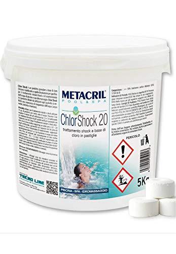 Metacril Chlor Shock 20 (5KG)-Cloro a Rapida dissoluzione in Past.da 20g per tratt.Shock o Mantenimento Piscina e Spa IDROMASSAGGIO (Jacuzzi,Teuco,Dimhora,Index,Bestway,ECC.) Spedizione IMMEDIATA