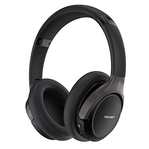 TECKNET Auriculares Bluetooth de Diadema 5.0 Cascos Plegables Cascos Inalámbrico, Hi-Fi Sonido Estéreo 16+ Horas de Reproducción de Música, Auriculares con Mic, Negro