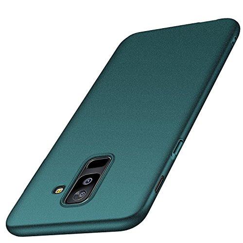 Anccer Kompatibel mit Samsung Galaxy A6 Plus Hülle, [Serie Matte] Elastische Schockabsorption und Ultra Thin Design (Kies Grün)