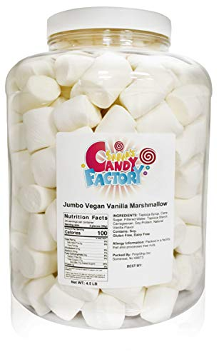 Sarah's Candy Factory Vegan Jumbo Campfire Vanilla Marshmallow Perfect for S'mores and Snacking (4.5 lb in jar)
