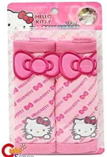 Sanrio Hello Kitty Seat Belt Cover Shoulder Pad - Pink Bow (one pair)