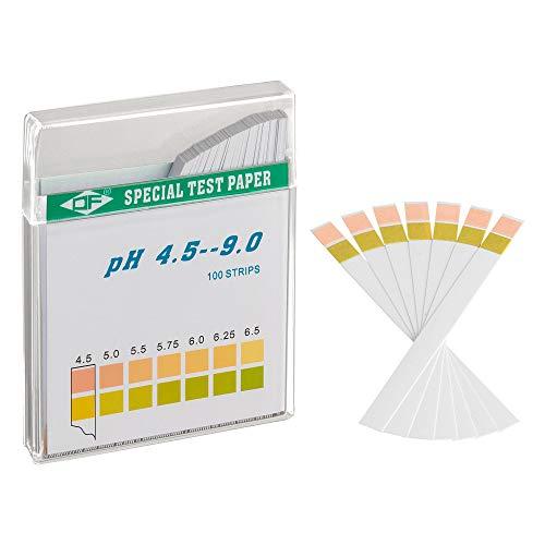 ECENCE pH Teststreifen 100 Stck, Lackmus Testpapier, Messbereich 4,5-9, Indikator Universalpapier, Säuretest für Aquarien, Trinkwasser