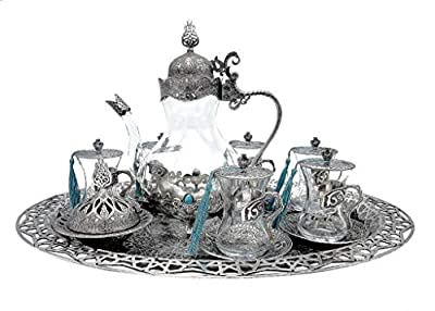 Traditional Ottoman Style Turkish Tea Set for 6 including Large Tray and Teapot Zinc Alloy and Glass (Silver)