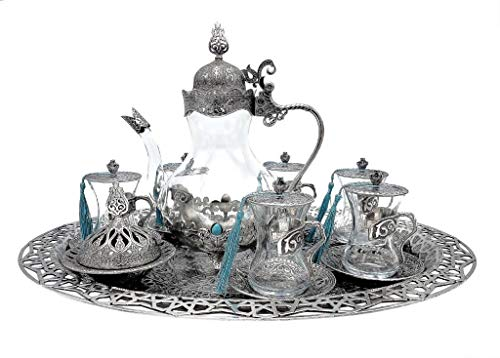Traditional Ottoman Style Turkish Tea Set for 6 including Large Tray and Teapot Zinc Alloy and Glass...