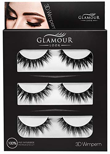 GlamourLook künstliche Wimpern - 3 Paar falsche Wimpern, Natural Lashes 3D-Look, Augen Make Up Set, Lash Lifting Set, Wimpernset