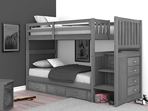 Discovery World Furniture Charcoal Twin Over Twin Stair Bed with 3 Drawers
