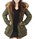 4HOW Womens Parka Jacket Winter Long Coat Hooded Warm Parkas Outdoor Fashion Coats Army Green Size 8