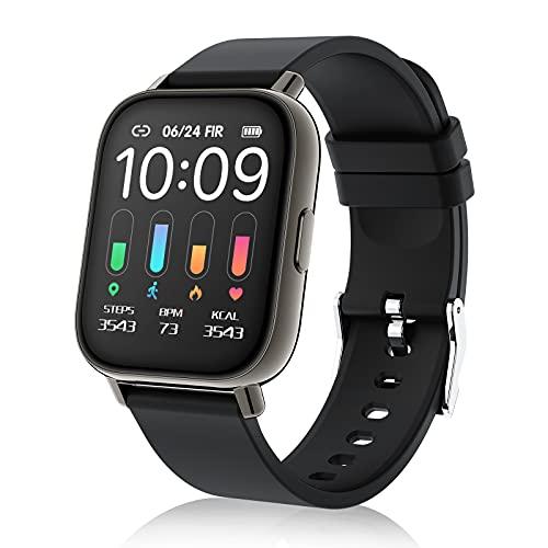 Smartwatch, Orologio Intelligente Touchscreen Intero 1.69   per Uomini Donne, Orologio Fitness con 24 Modalità Sport Impermeabile IP67, Cardiofrequenzimetro Monitor del Sonno Contapassi Calorie, Nero