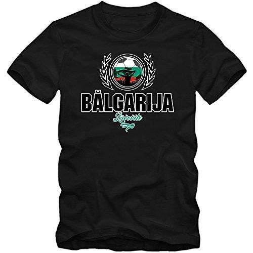 Shirt Happenz Fútbol Bulgaria V2 Camiseta | Hombre | Fútbol | The Lion | Jersey | Equipo Nacional, Colour:Black (Deep Black);Size:Medium