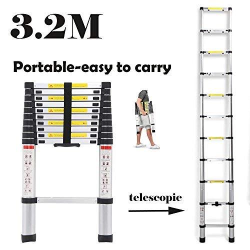 Escalera telescópica plegable multiusos de aluminio, 3,2 m, extensible, 11 pasos 2018, nuevo diseño