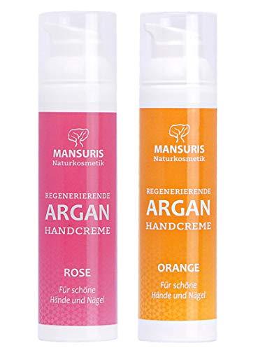 Bio Handcreme 2er Set Orange & Rose - Mit Arganöl für Hände, Füße & Nägel, Cremes für sehr trockene, strapazierte & rissige Hände, Nagelcreme für brüchige...