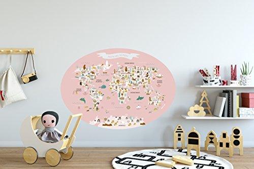 Menudos Cuadros Vinilo Decorativo Infantil mapamundi Ovalado Rosa de Animales y monumentos...