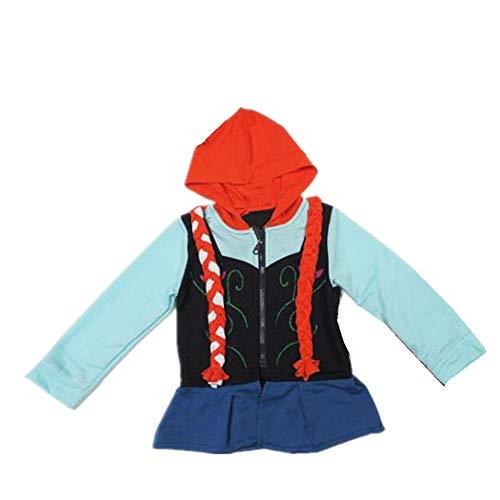 Black Sugar Mädchen-Jacke mit Kapuze, Top, Jacke, Cosplay, Kostüm Die Eiskönigin, Anna Elsa, Baumwolle, für Kinder 7/8 Jahre