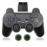 Wireless Controller for PS2,Built-in Dual Vibration 2.4G Gamepad Joystick Compatible for Playstation 2,with Wireless Receivers(Black)
