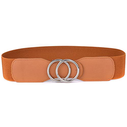 WHBDJ Beltox Faja para Mujer Cinturones elásticos elásticos de Cintura Ancha con Doble Hebilla fajines para Mujer, OO, kou, Plateado, marrón, 95 cm a 120 cm