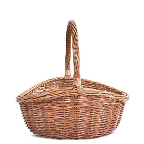 Oval Traditional Wicker Shopping High Handle Basket Storage Basket (Medium)