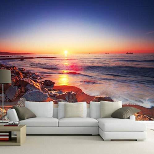 3D vliesbehang fotovlies premium fotobehang mooie zonsondergang-strand-romantisch behang woonkamer-sofa tv-interieur van landschapsmuurschilderij 3D 250*175 250 x 175 cm.