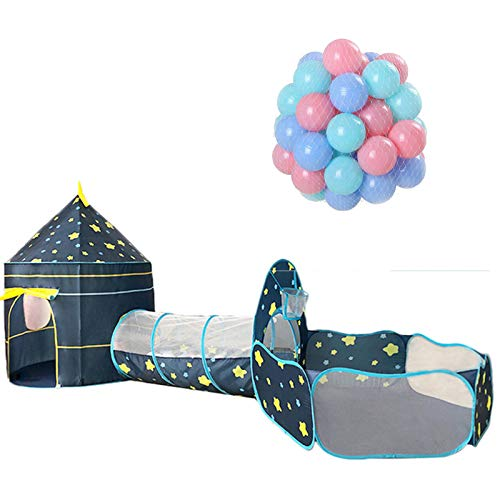 LANHA 3 in 1 Kids Play Tent, Pop Up Play Tents Tunnels with 200 Pcs Soft PE Play Balls for Boys, Girls, Indoor/Outdoor Playhouse