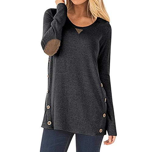XYJD Spring and Summer Women's Casual Loose Round Neck Solid Color Stitching Long-Sleeved Shirt Button Patch Decoration T-Shirt Women Grey