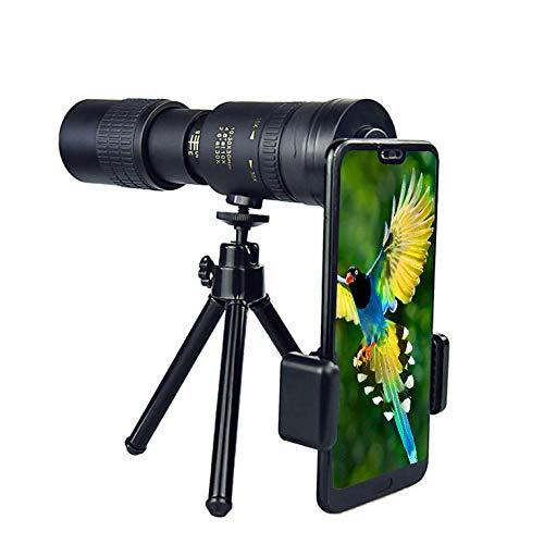MUSJOS 4K 10-300X40Mm Super Telephoto Zoom Monokular Teleskop, Hd Monokular Fernglas Mit Smartphone Stativ Adapter, Fernrohr Telescopes Für Klettern Vogelbeobachtung Fußballspiel Reisen