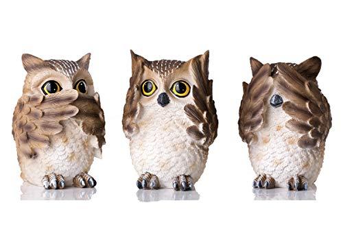 HOMERRY Eulen-Figuren aus Polyresin mit verschiedenen Gesten, No-No, See-No, Speak-No, Lustige Eulen-Statue, Dekoration für Zuhause und Büro, 3 Stück
