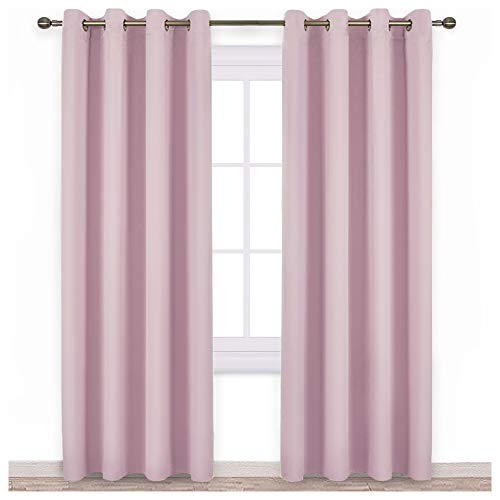 NICETOWN Blackout Curtains for Girls Room - Thermal Insulated Solid Grommet Room Darkening Curtains/Panels / Drape for Bedroom (Lavender Pink=Baby Pink, One Pair, 52 by 84-Inch)