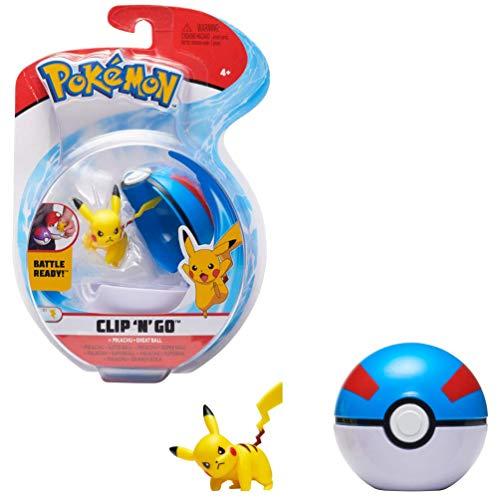 Pokémon Clip 'N' Go Pikachu & Pokéball, Enthält 1 Figur & 1 Poké Ball, Neue Welle 2021, Offiziell Lizensiert