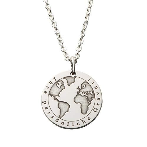 Hals-Kette echt Silber 925 mit Gravur - Weltkugel Globus Geschenke für besondere Frauen (20)