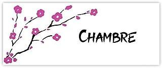 Plaque de porte Sakura fleurs de cerisiers pour chambre, buanderie, toilettes, salle de bains, cuisine ou texte personnali...