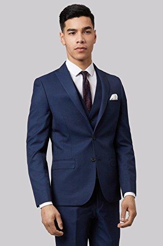 Moss London Men's Skinny Fit Blue Sharkskin 2 Piece Suit 34S