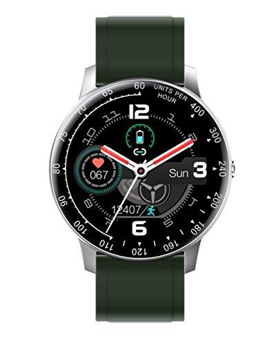 Reloj Smart de Radiant. Colección Times Square. Reloj Plateado con Correa de Silicona Verde y Brazalete de Acero Plateado. IP67. 44mm. Referencia RAS20404.