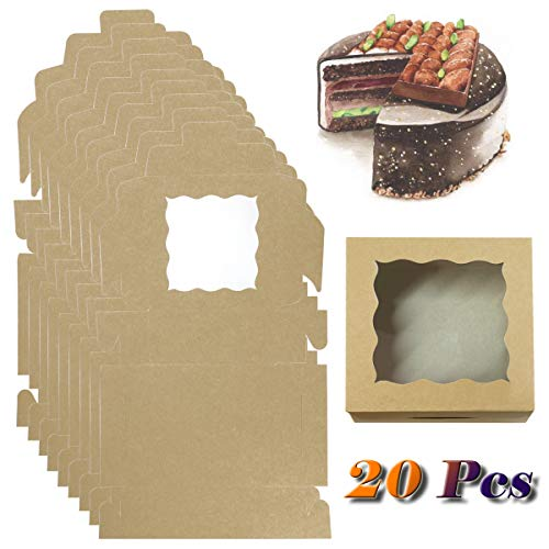 Fyess 20Pack Kraft Paper Bakery Boxes with pvc Window,Clear Display Window, Donut, Mini Cake, Pie Slice, Dessert Disposable Take-Out Container Cookies Boxes(6x6x2.5inch)