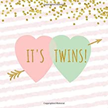 It's Twins!: Mint Green, Pink & Gold Confetti Cupid's Arrow Through Double Heart Sign In Guestbook for Twin Baby Shower or Gender Reveal Party - ... Lines for Email, Name and Address + GIFT LOG