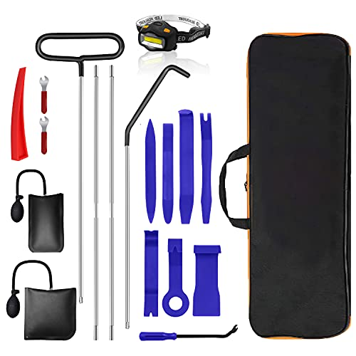 19PCS Professional Emergency Car Lockout Kit, Essential Automotive Car Tool Kit with Air Wedge Pump, Long Reach Grabber, Auto Trim Removal Tool Set, Essential Tagout Tool Kit for Vehicle Truck
