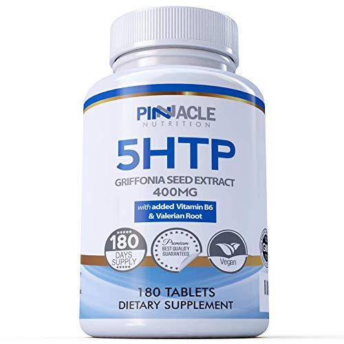 5-HTP 400mg Griffonia Seed Extract Equivalent with Added Valerian & Vitamin B6 | 6 Month Supply | High Absorption 5HTP Tablets