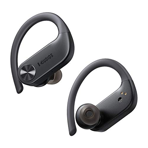 Wireless Earbuds with Earhooks, Dudios IPX7 Waterproof Sports Headphones 56 Hours Playtime, in Ear/Deep Bass/Built-in Microphone/USB-C/Touch Control/Noise Cancelling, Sports Earphones for Running Gym