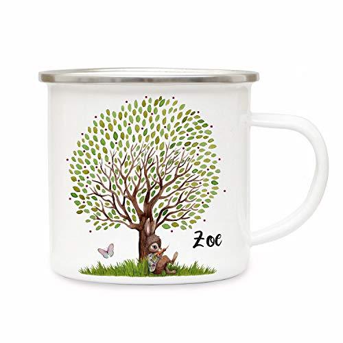 ilka parey wandtattoo-welt Emaillebecher Becher Tasse Camping Hase Häschen unterm großen Baum & Wunschname Name Kaffeetasse Geschenk eb364