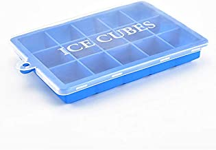 Ice Cube Tray with Lids Large Size Silicone Flexible 15 Cavity Ice Maker for Whiskey and Cocktails, Keep Drinks Chilled (2...