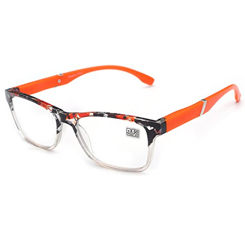 VEVESMUNDO Lesebrille Damen Herren Halbrahmen Federscharnier Vintage Halbbrille Lesehilfe Sehhilfen Brillen mit Stärke 1.0 1.5 2.0 2.5 3.0 3.5 4.0 (Orange, 2.5)
