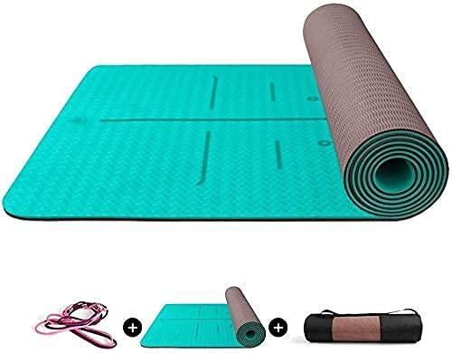 Sysrqcer Grande Tappetino da Yoga Reversibile Dual Color Non scivolata Superficie Strutturata con Linee di allineamento del Corpo per Le tappetini per Pavimenti in Palestra Domestica