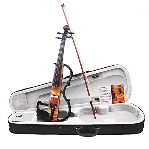 BLKykll Spielt Geige Violinen Set 4/4 AU-05 Profi Elektroakustisches Instrument Ausgestattet Mit Elektroakustischer Violine, Kopfhörer, Kolophonium, Bogen, Batterie, 3 M Externem Anschlusskabel