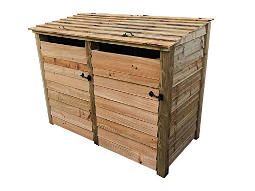 Double Wooden Wheelie Bin Storage