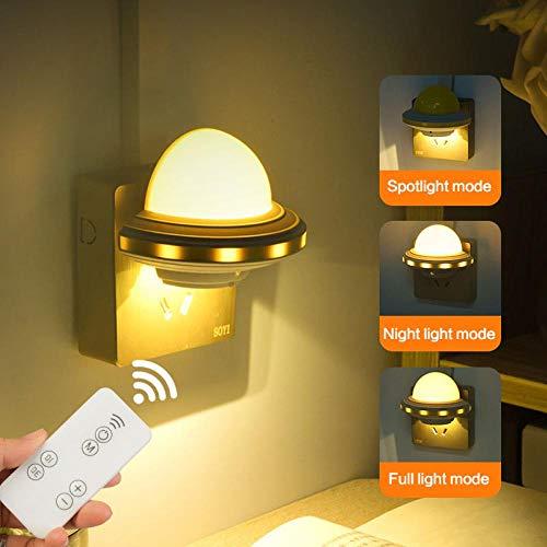 GAFAGAFA luz quitamiedos infantil 1 unid LED Luz de noche Control remoto inteligente Mini lámpara de iluminación de cabecera Lámpara de iluminación de enchufe para la decoración del hogar de la cabec