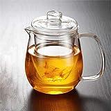 jjh Hervidor de té de vidrio Infusor de té Tetera china Kung Fu Tea Set Puer Kettle Coffee Glass Maker Conveniente Tetera de oficina 500 ml (Color: A 600 ml)