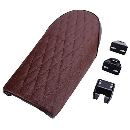 Silla de cuero plana de la PU del amortiguador de asiento de la motocicleta cabida para CB CL AX100 CG125(rojo)