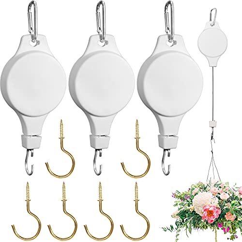 3 Pack Plant Pulley Hanger, Retractable Plant Hook Pulley, Adjustable Plant Pulleys for Hanging Plants, with 6 Pack Golden Metal Ceiling Hooks, Plant Pulley Hanger for Garden Baskets & Bird Feeder
