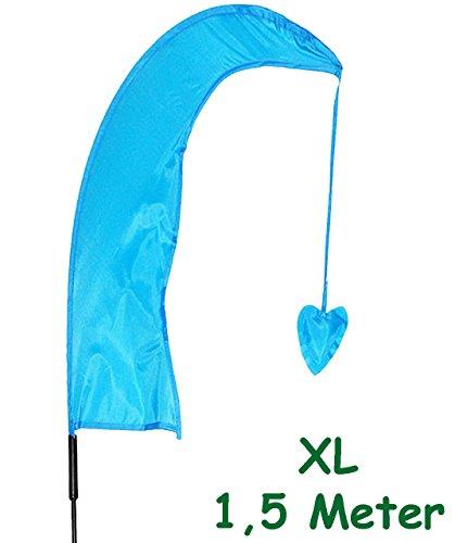 alles-meine.de GmbH 5 Stück _ XL - 1,5 m - Windfahnen / Balifahnen -  hell BLAU  - mit Fahnenstange - UV-widerstandsfähig und wetterfest - Windrichtungsanzeige - aus Nylon / Flagge Wind..