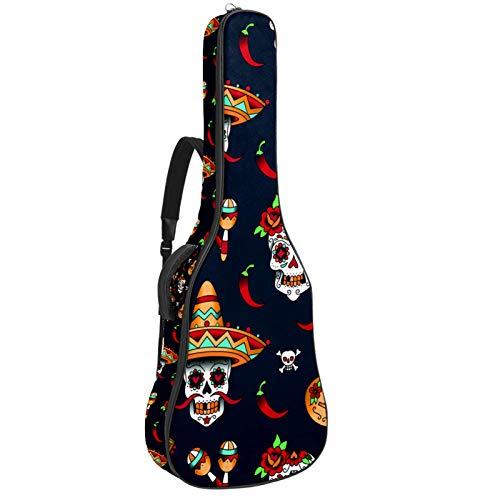 Bolsa para Guitarra Guitarra Calavera Chile Funda para Guitarra Acústica Clásica y Eléctrica 40 41 pollici 10 mm funda Acolchada Mochila Guitarra